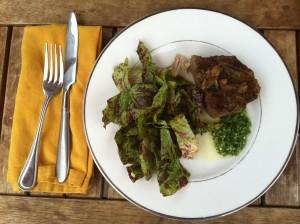 steak, chimichurri and green salad
