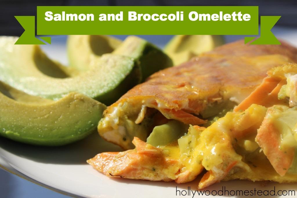 paleo salmon broccoli omelette