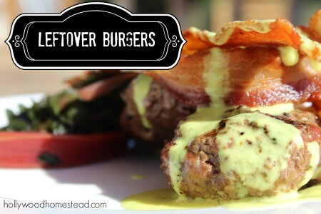 Leftover Burgers with Bacon and Turmeric Sauce