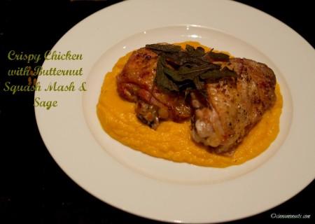 Crispy Chicken with Butternut Squash Mash Sage