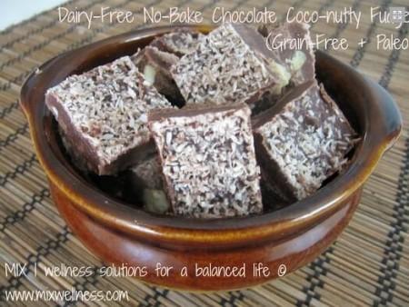 Dairy-Free No-Bake Chocolate Coco-nutty Fudge (Grain-Free + Paleo)