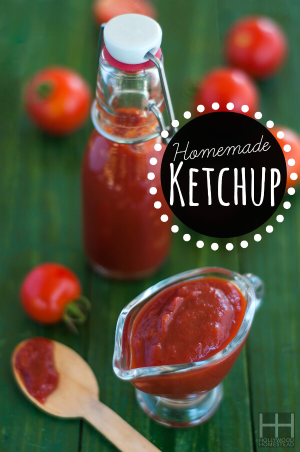 Homemade ketchup on green table
