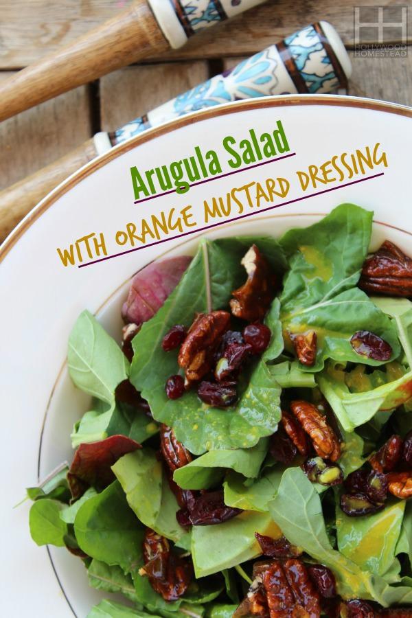 Arugula salad w_orange mustard dressing WM